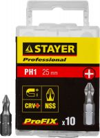 "Биты STAYER ""PROFESSIONAL"" ProFix Phillips, тип хвостовика C 1/4"", № 1, L=25мм, 10шт"