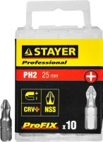 "Биты STAYER ""PROFESSIONAL"" ProFix Phillips, тип хвостовика C 1/4"", № 2, L=25мм, 10шт"