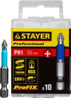 "Биты STAYER ""PROFESSIONAL"" ProFix Phillips, тип хвостовика E 1/4"", № 1, L=50мм, 10шт"