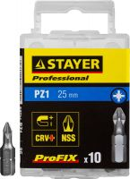 "Биты STAYER ""PROFESSIONAL"" ProFix Pozidriv, тип хвостовика C 1/4"", № 1, L=25мм, 10шт"