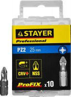 "Биты STAYER ""PROFESSIONAL"" ProFix Pozidriv, тип хвостовика C 1/4"", № 2, L=25мм, 10шт"