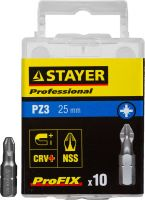 "Биты STAYER ""PROFESSIONAL"" ProFix Pozidriv, тип хвостовика C 1/4"", № 3, L=25мм, 10шт"